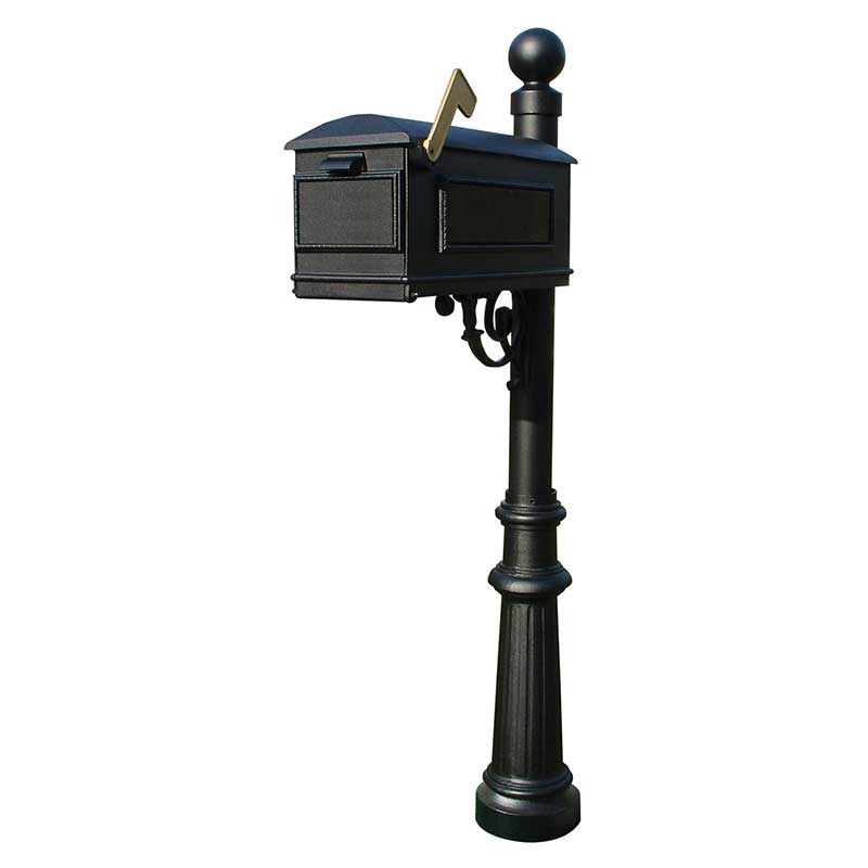 Lewiston mailbox post mount with fluted base and ball finial