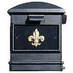 Black Lewiston mailbox with optional decorative front plate.