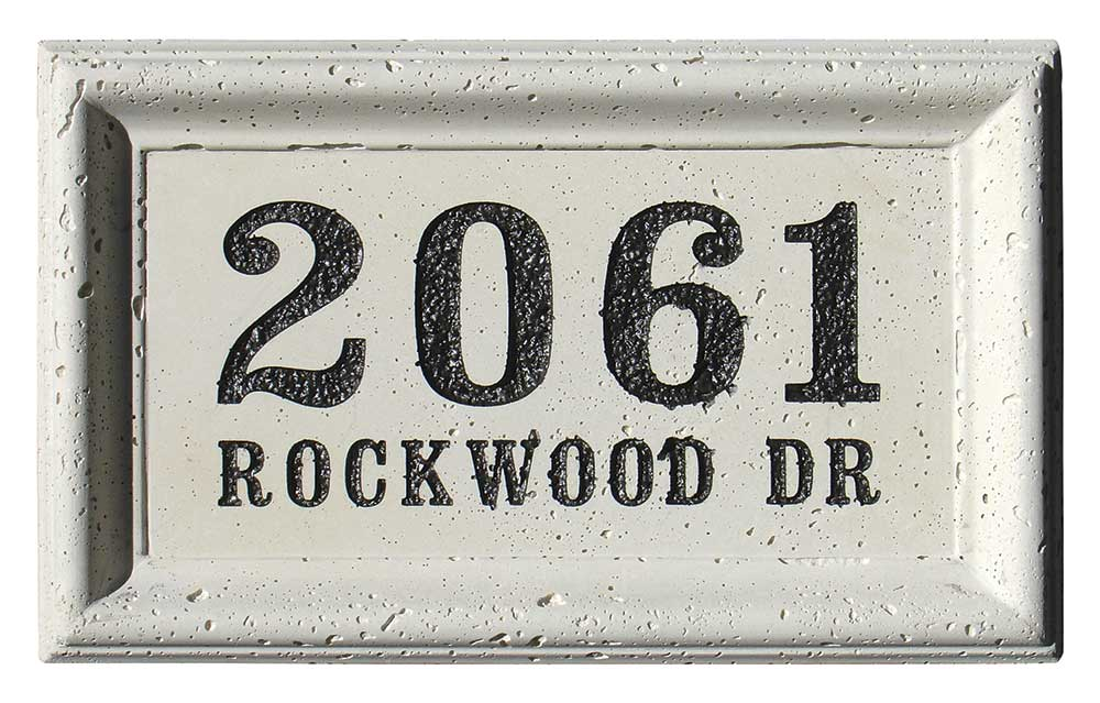 Engraved Cast Concrete Address Blocks