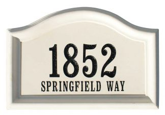 Arched Cast Concrete Address plaque