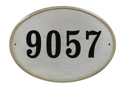Oval crushed stone address plaque