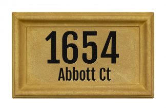 Engraved rectangle cast concrete address plaque
