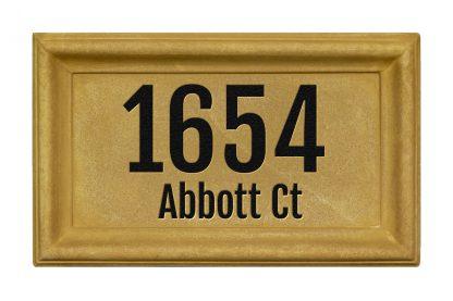 Engraved rectangle cast concrete address plaque