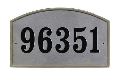 Arched crushed stone address plaque