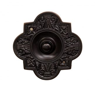 Decorative dark bronze doorbell button