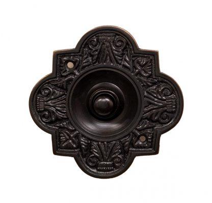 Decorative dark bronze doorbell button