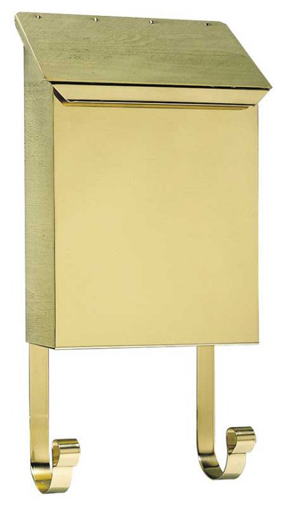 Polished brass wall mount mailbox