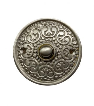 Ornate brass doorbell with silver satin finish