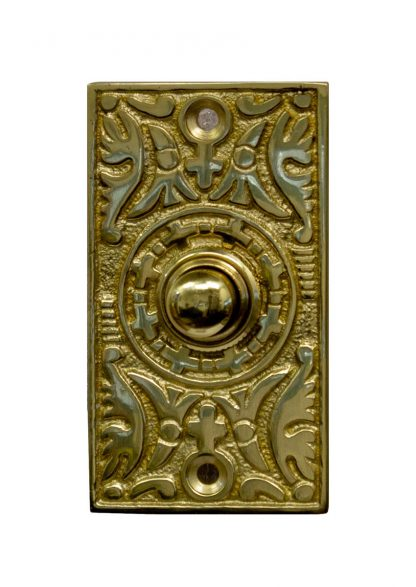 Rectangle brass doorbell button