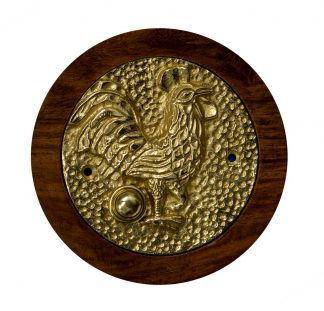 Polished brass doorbell with rooster design