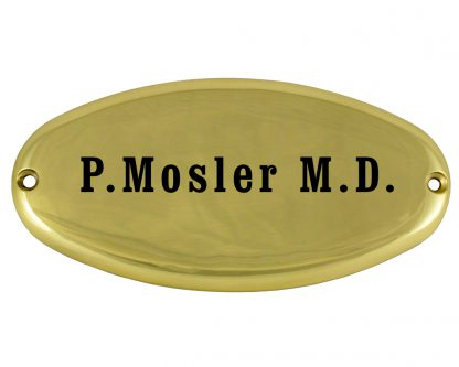 Small oval brass plaque